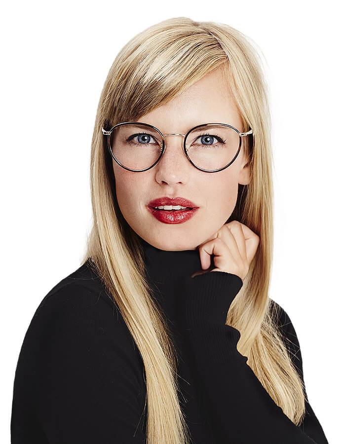 Woman wearing designer glasses