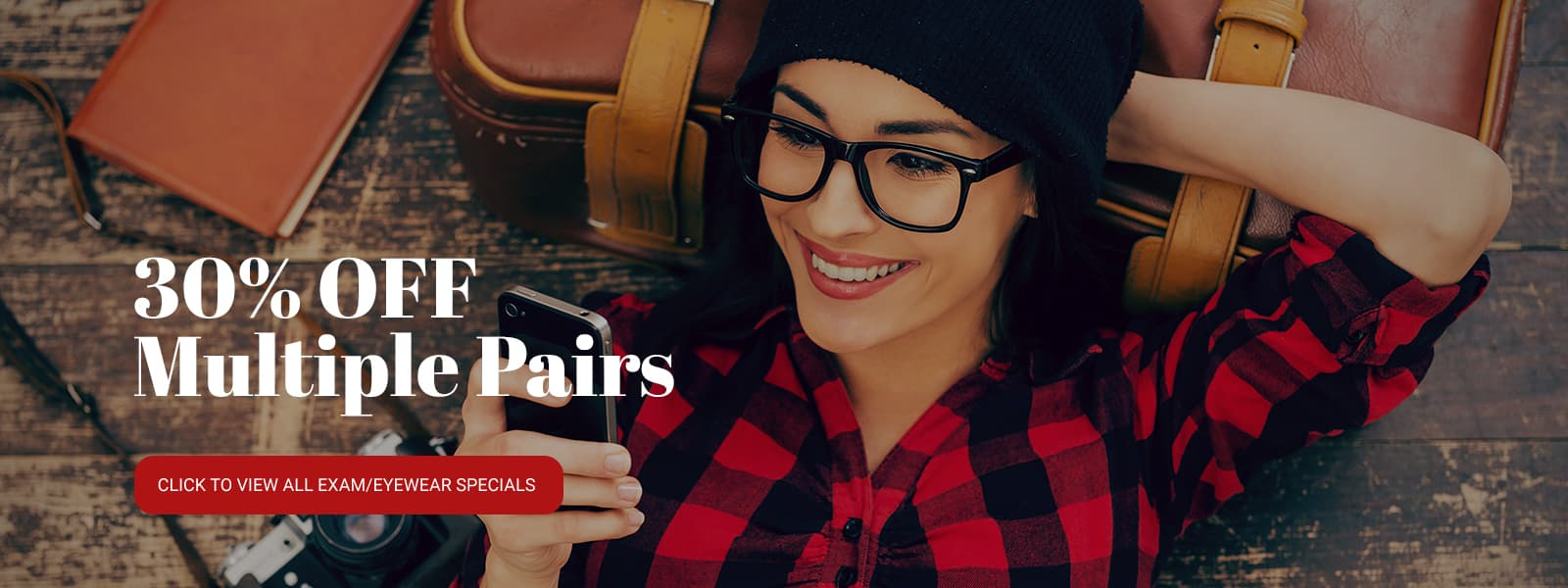Eyelux promotional ad. 30% off multiple pairs of glasses. 96 dollar rebates on annual supply of contact lenses. Exam and designer glasses starting at 226 dollars.