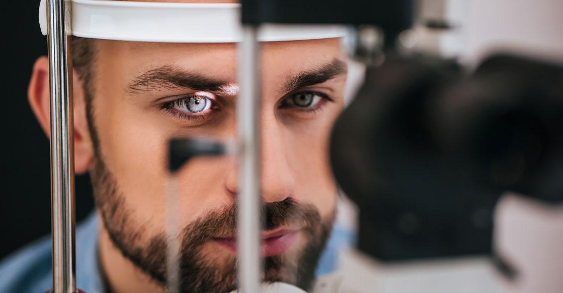 Man having his peripheral vision tested