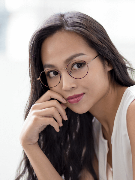 Sophisticated woman wearing glasses